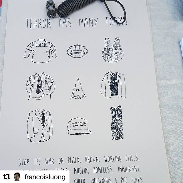 #Repost @francoisluong ・・・ Screenprinting and fundraiser with #printorganizeprotest ongoing at @teabuoy 's reading