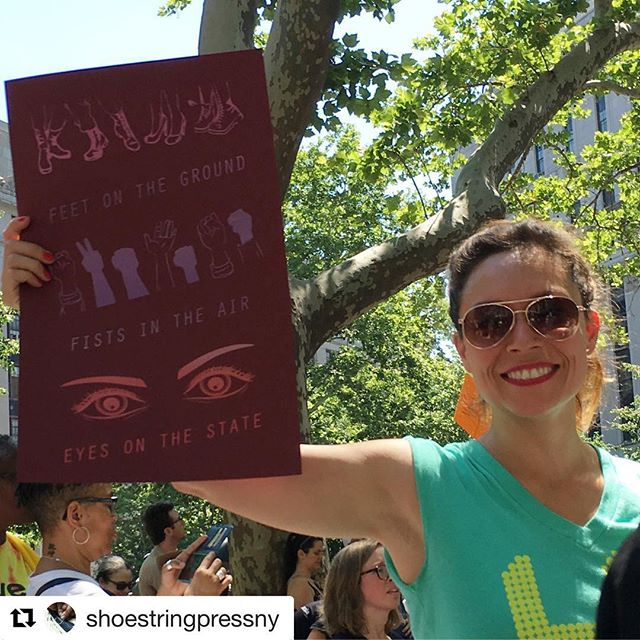 #Repost @shoestringpressny with @get_repost ・・・ A favorite design by @arianamy_ rides again at today's march. @print.organize.protest #printorganizeprotest