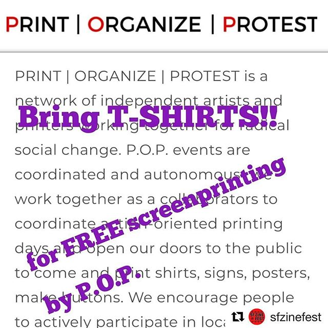 #Repost @sfzinefest ・・・ Bring t-shirts to SFZF tomorrow!  From 11am-1pm, @print.organize.protest will print designs on tshirts for FREE! Also, the printmaking workshop will provide posters for silkscreening.  The images will be geared toward climate change, with a donation jar for 350.org, an amazing organization fighting for climate justice.