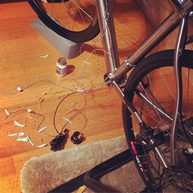 Wires everywhere.  Working on prototype Road+ ebike.