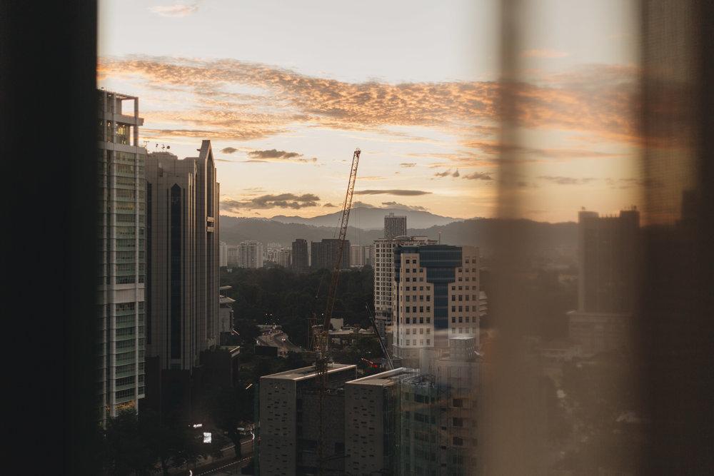 Downtown Kuala Lumpur Ritz Carlton Skyline sunrise