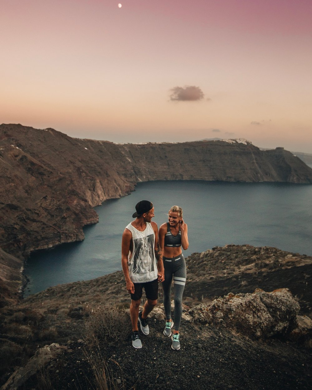 sunset hike in Santorini in Greece