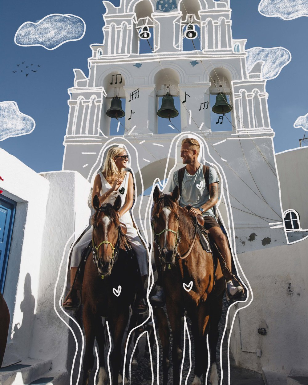 horseback riding in Santorini, Greece