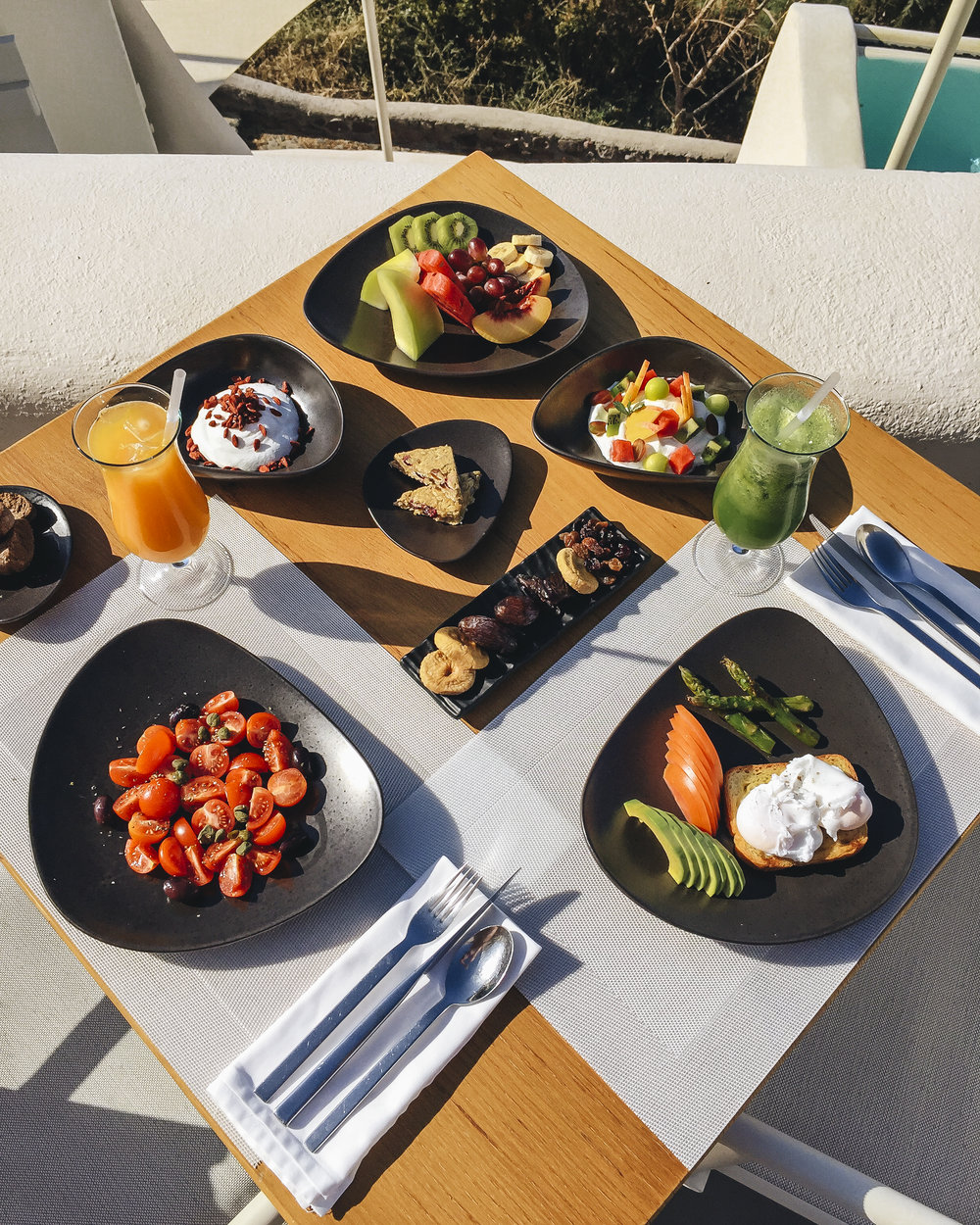 luxury hotel healthy food in Santorini, Greece