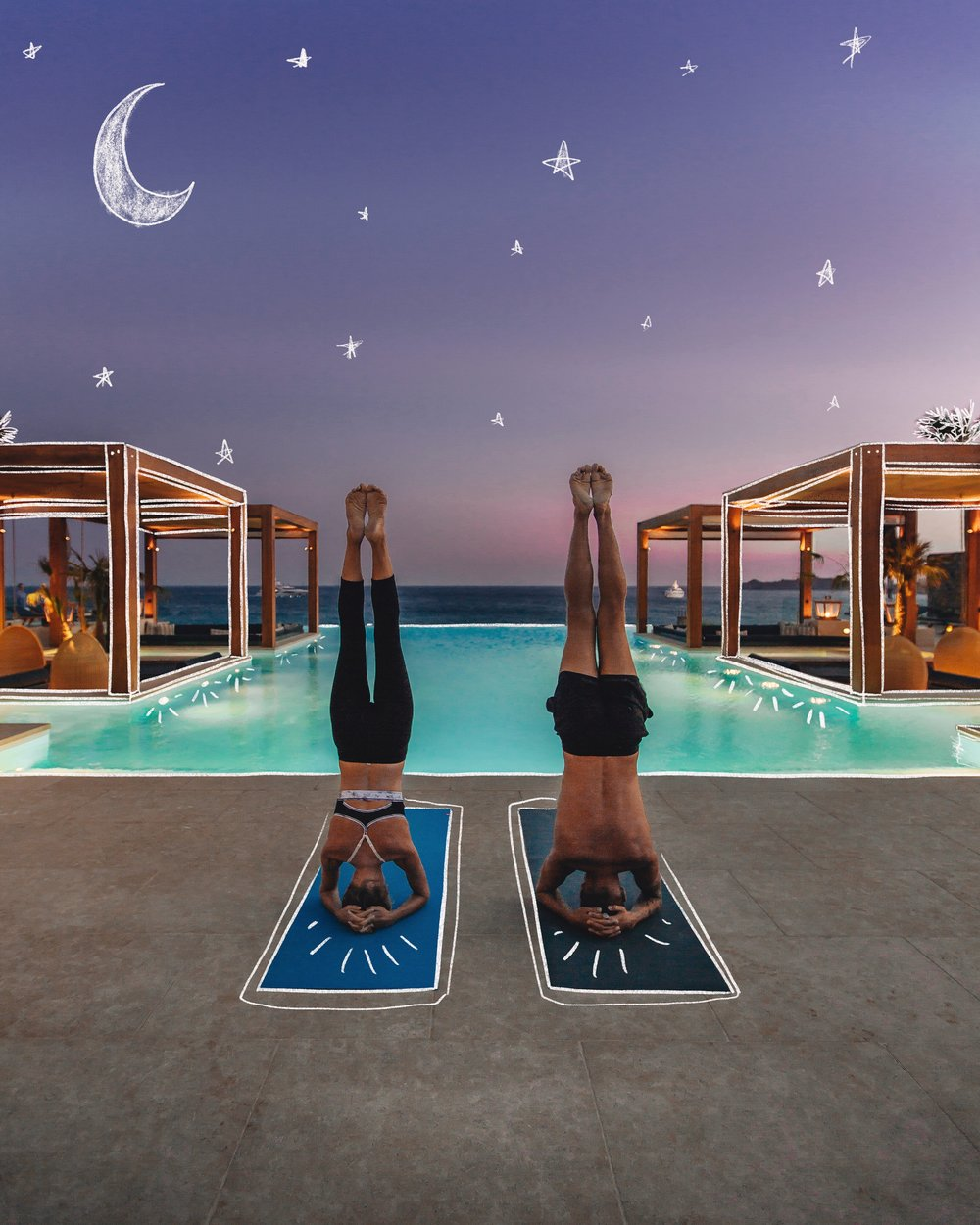 sunset yoga in Mykonos, Greece