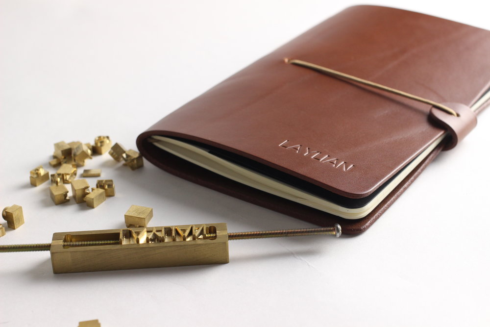 Custom embossed leather notebook cover