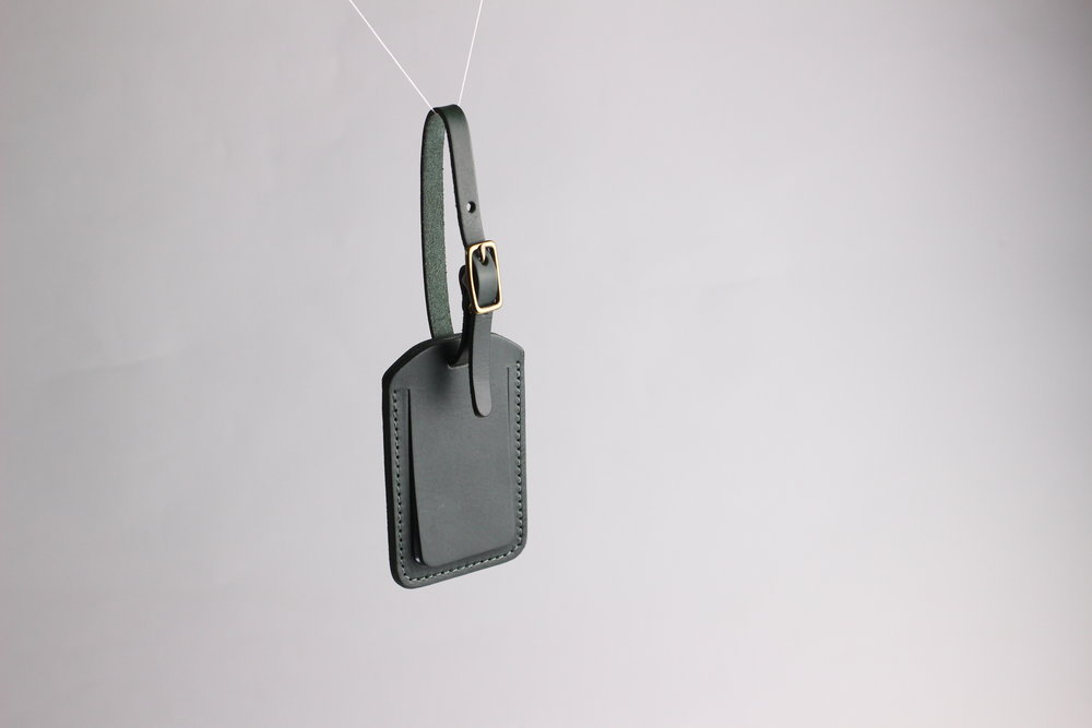 forest green leather luggage tag