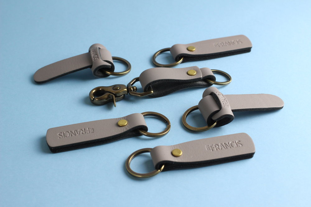 grey leather key FOBs