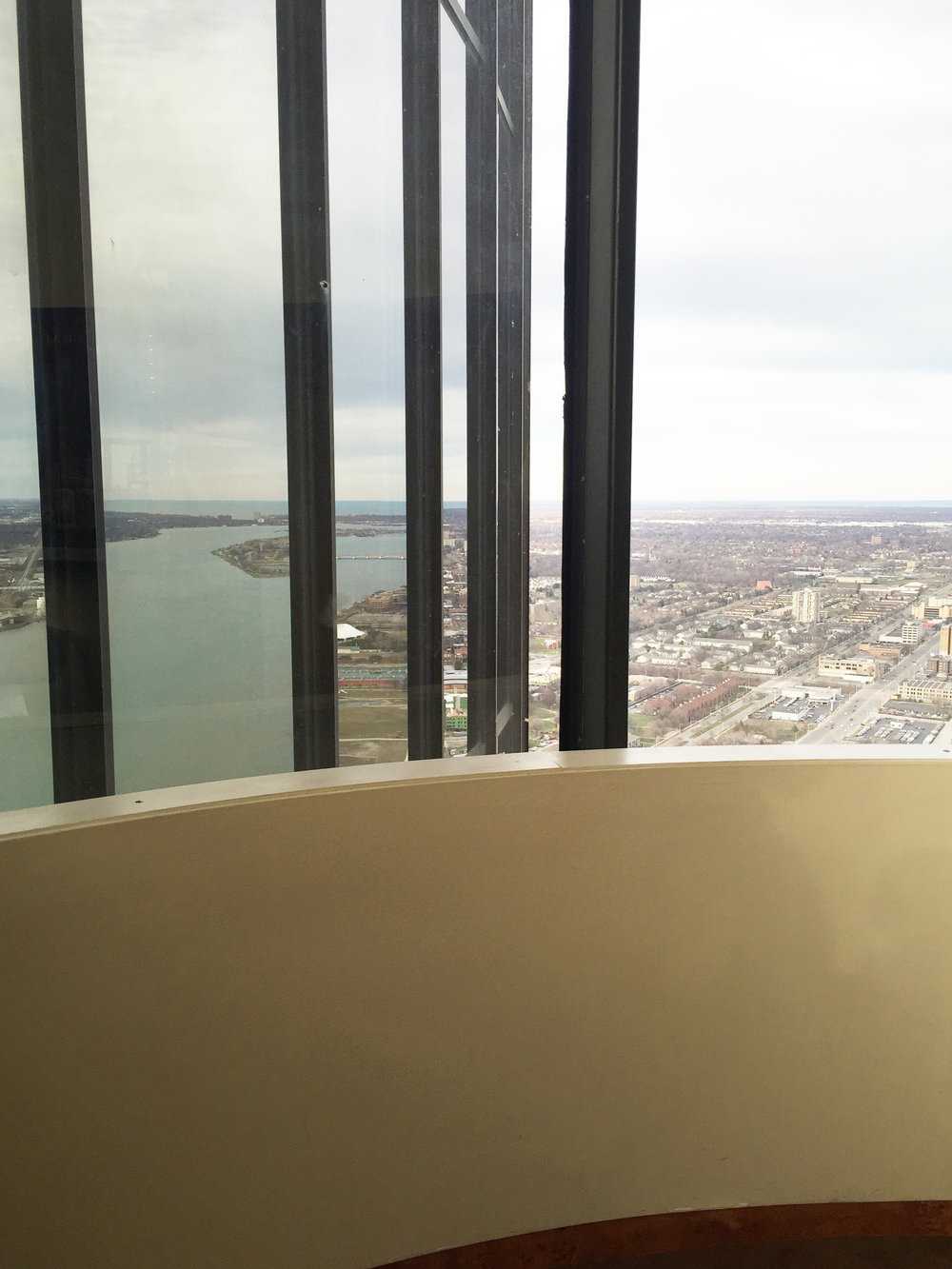 In this photo, taken from the top of the Renaissance Center, the left half is actually a reflection of the river on the windows of the building.
