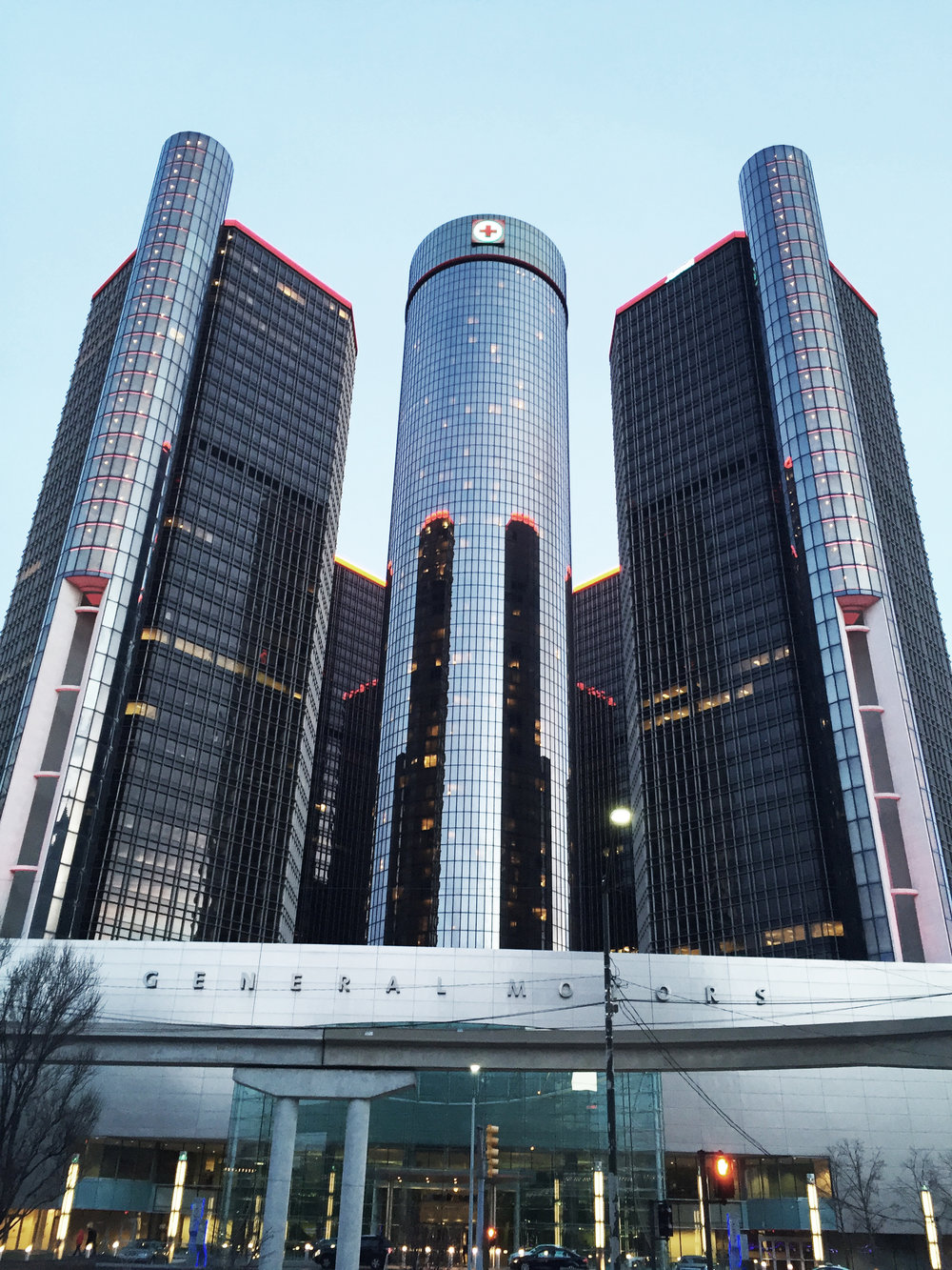 The General Motors' Renaissance Center had the scariest elevators that I've ever ridden on! They were glass elevators on the exterior of the building, so you could see just how high up you were traveling. It was terrifying!