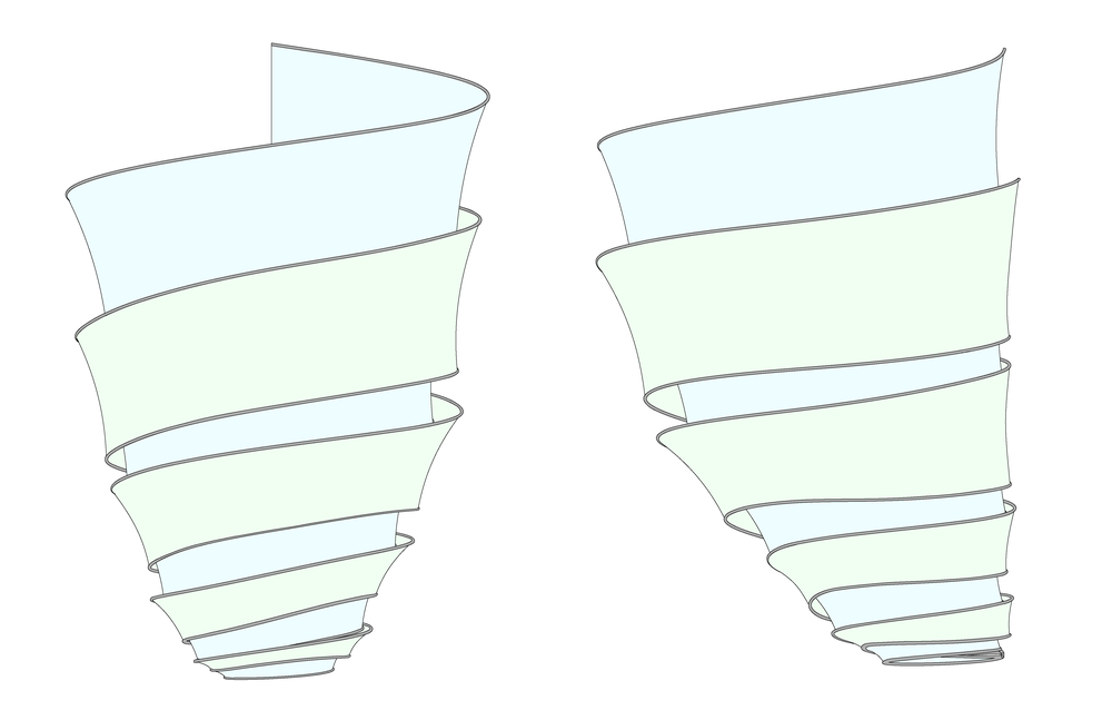 These front and side elevations show how the two layers of plastic spiral around each other.