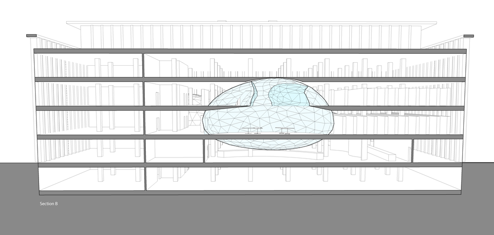 This second sectional perspective shows the back orb. The bottom of this orb peeks through to the first floor right behind the front desk.