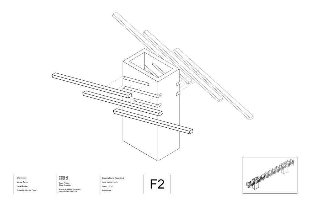An assembly drawing showing how the sticks fit into the boxes.