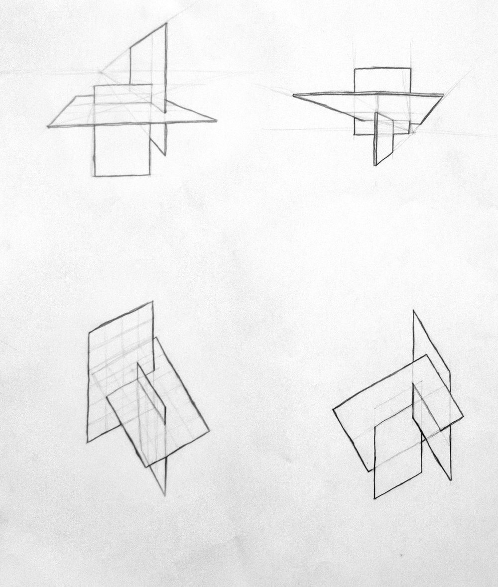 Before starting on the cube, we designed a set of three planes and sketched them in various directions.