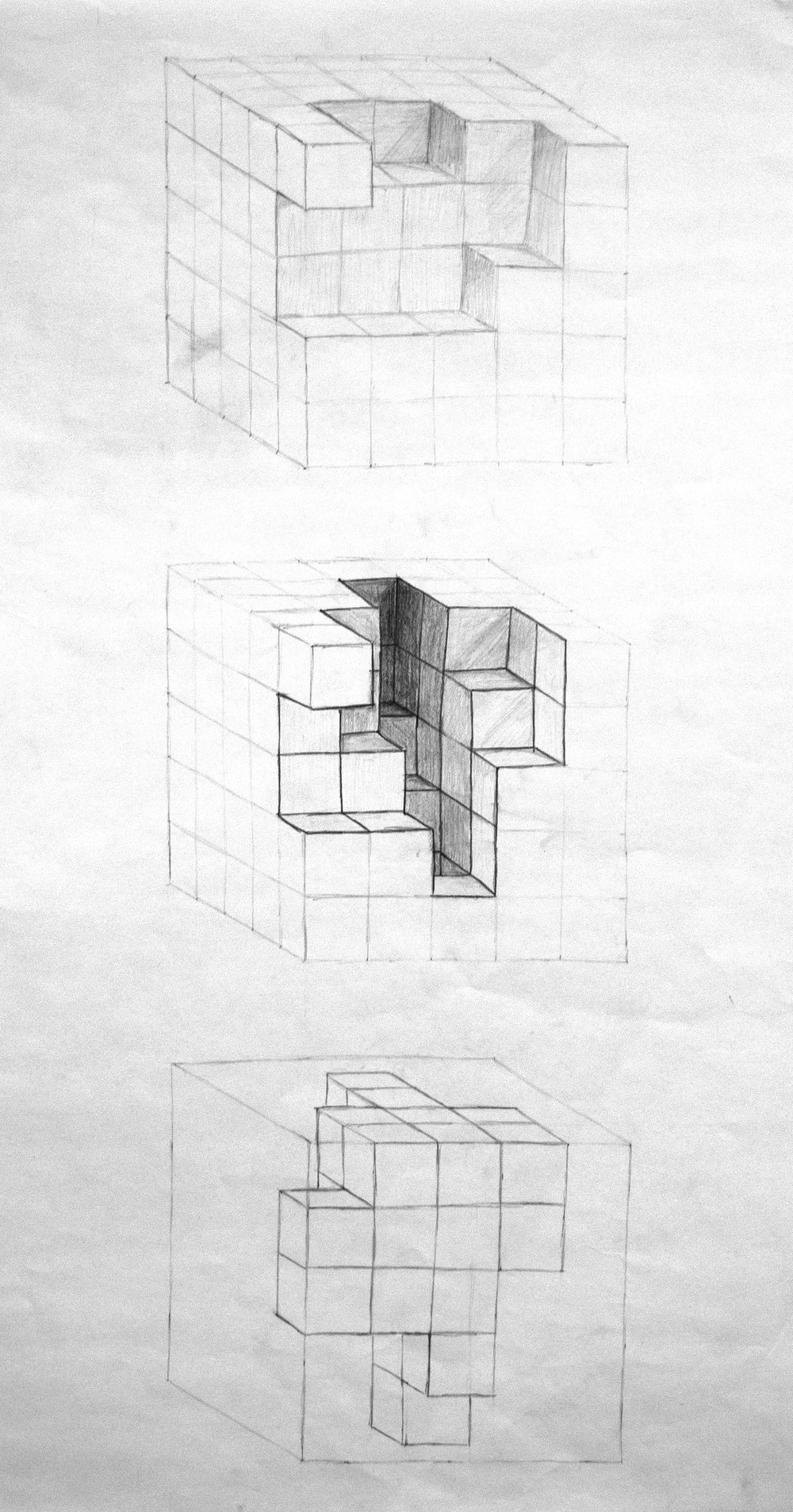 Our process started by simply carving pieces out of a cube to see the spaces that we could create.