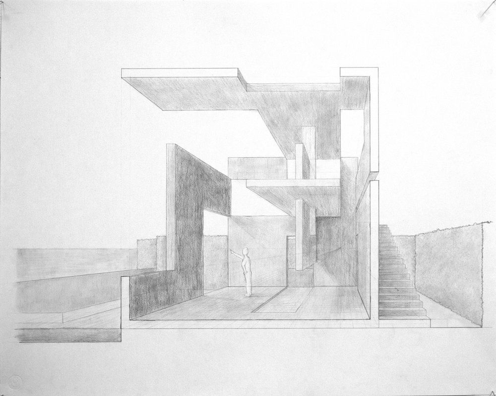 A sectional perspective. I like this drawing because you can see that the half with the stairs is much more compressed and the side with the person is more open.
