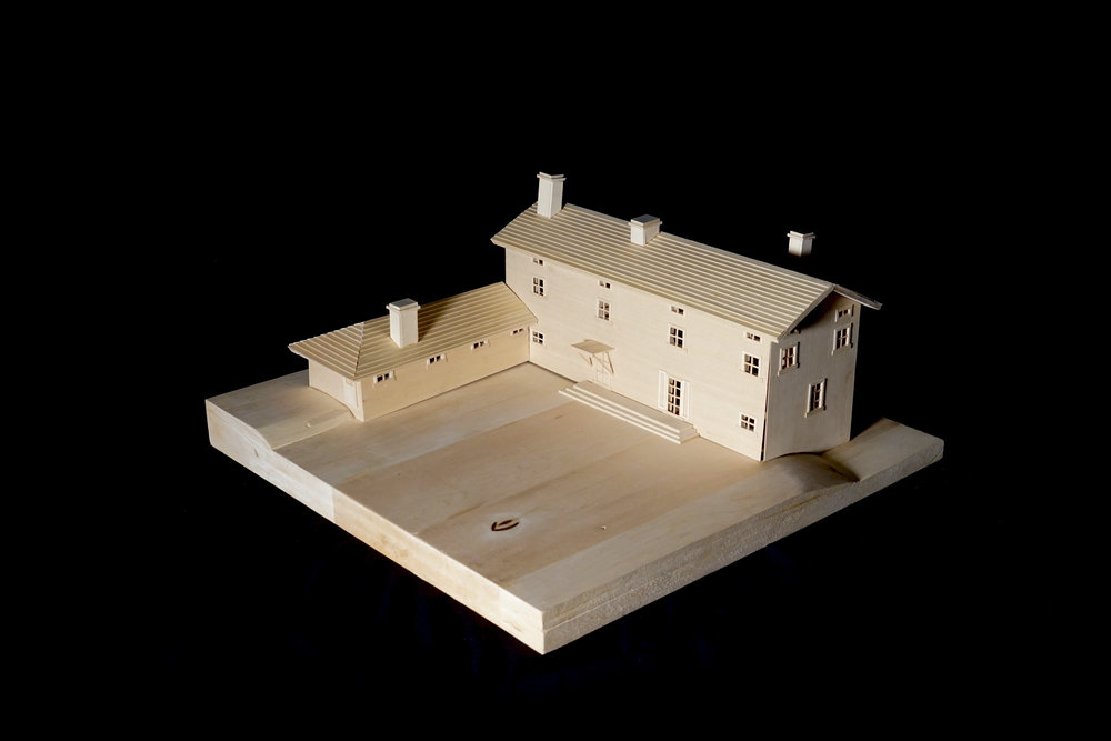 Our final model was constructed entirely out of basswood. We were allowed to use other materials as well, but we chose to limit ourselves to the one in order to emphasize the simplicity of the building.