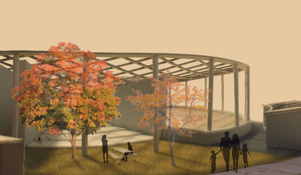 A simple rendering of the outdoor seating area