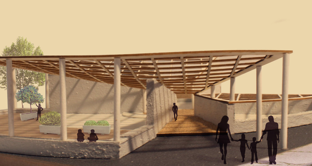 A simple rendering of the entrance from the parking lot and the outdoor planting area