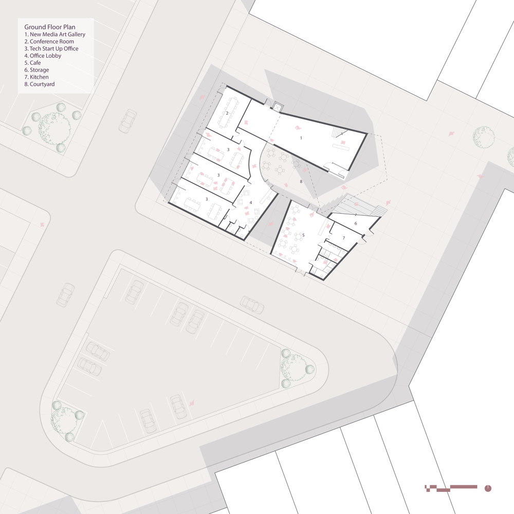 On this first floor plan, you can clearly see how the spaces wrap around to frame a central courtyard.
