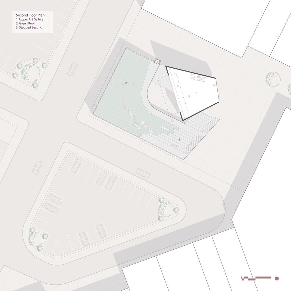 The second floor plan shows the upper art gallery and the green roof that slopes to face it.