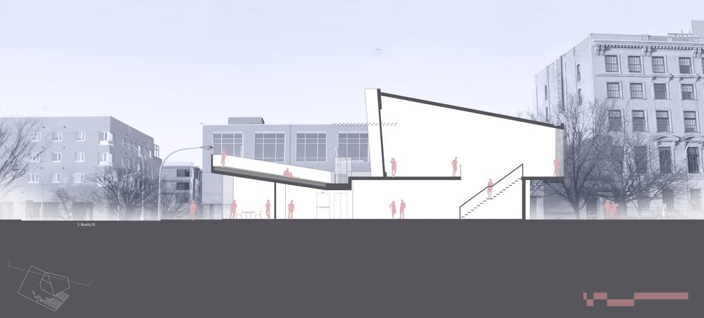 This section takes photographs taken on the site and overlays my design on top of them. This shows the scale of the spaces, as well as their scale in relation to the surrounding buildings.