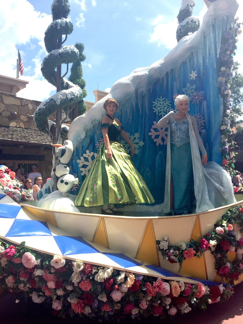 Anna and Elsa have covered their portion of the float in ice and snow, of course!