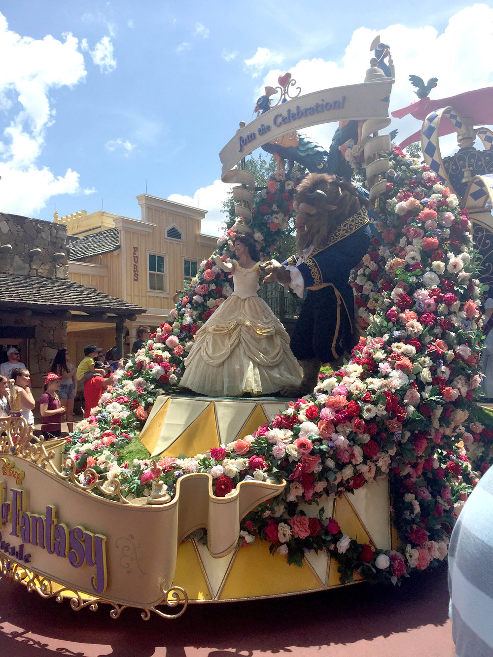 I love that the princess float is covered in multicolored roses!