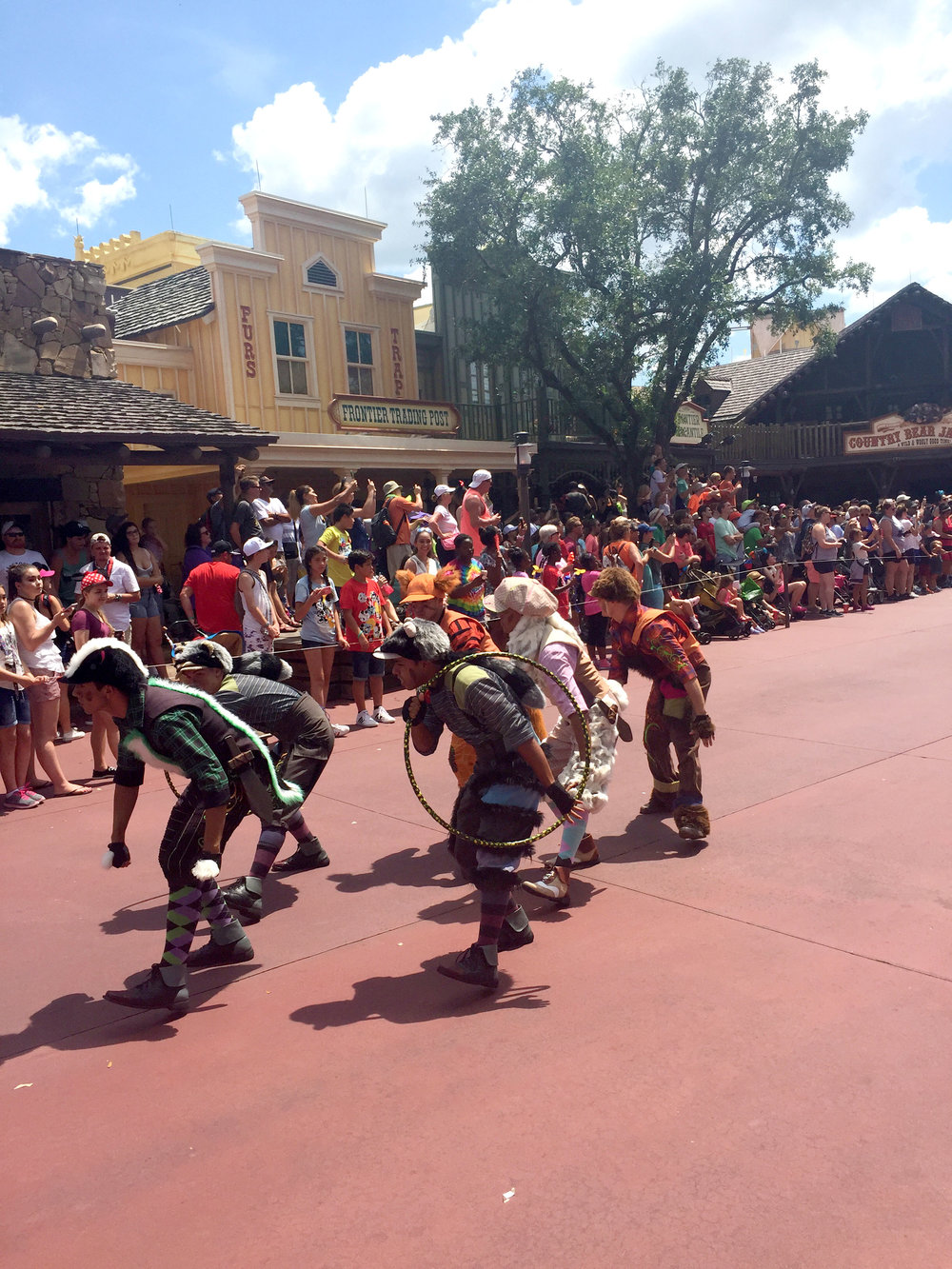 The Lost Boys lead the Peter Pan section of the parade. Their tumbling and tricks are really impressive!