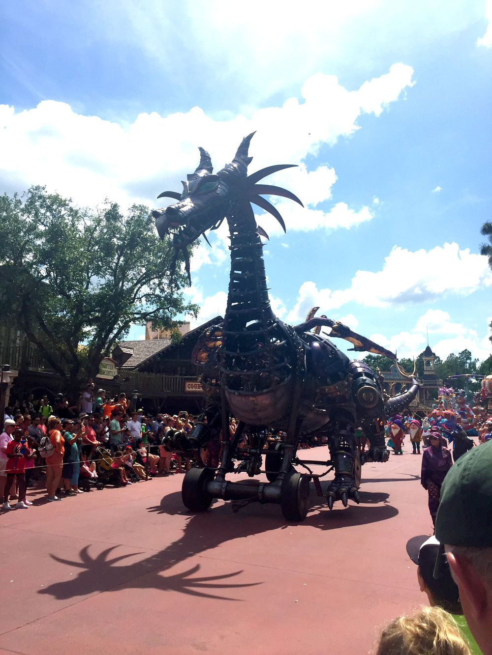 The main spectacle of the Sleeping Beauty section of the parade is the giant Maleficent dragon.