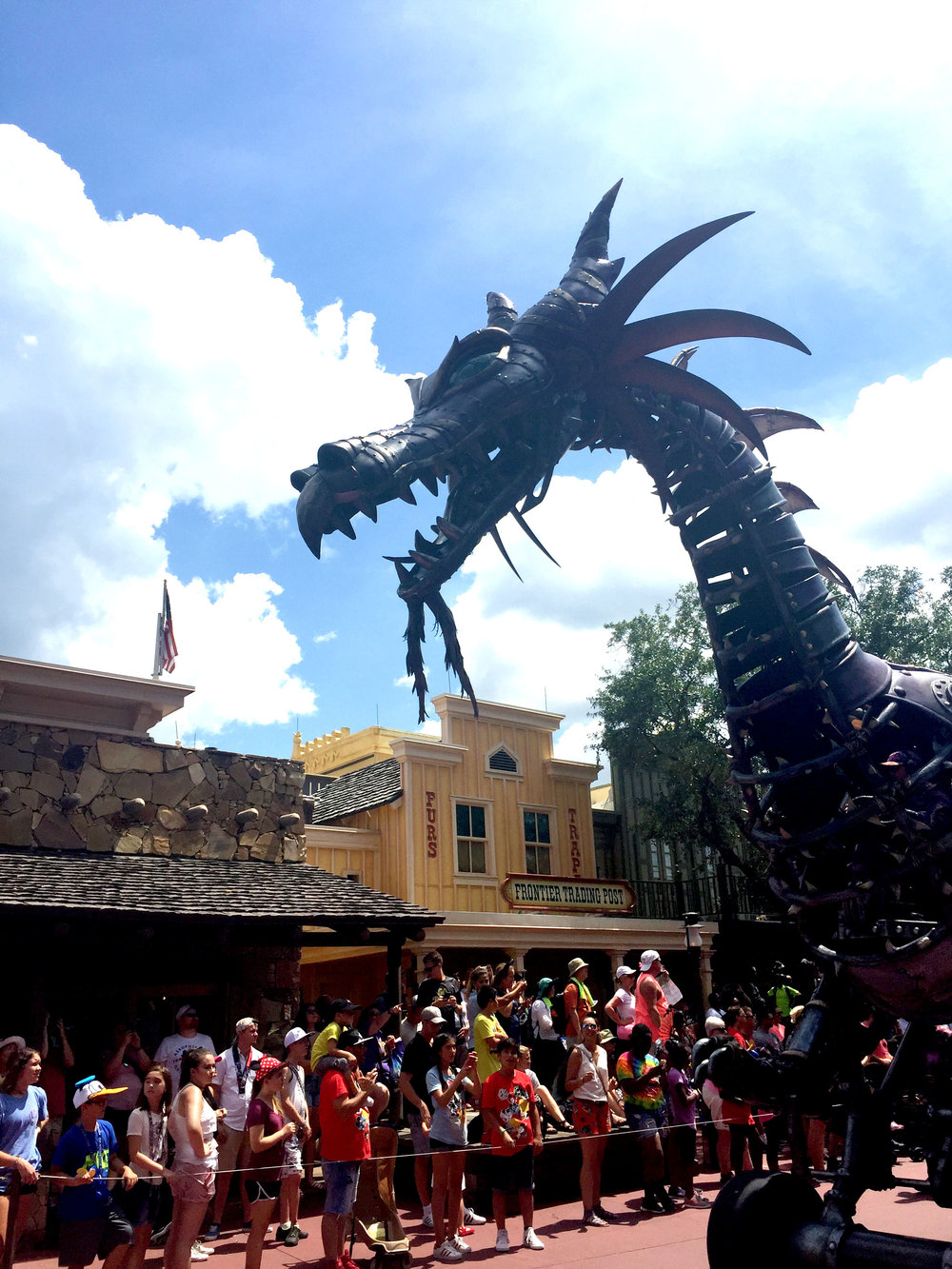 Th giant dragon had a steampunk vibe to it. You could see the cast member steering it from its belly.