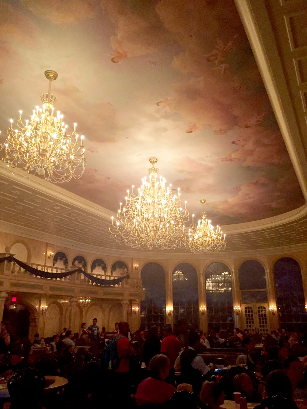 Walking into the ballroom at the Be Our Guest restaurant felt like walking into the movie! It's breathtaking!
