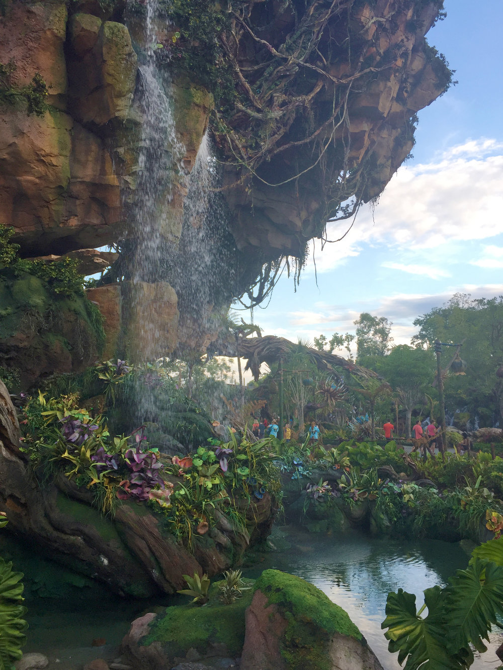 The Fastpass line for Flight of Passage bypasses a lot of the indoor queue, but you'll still get to see the beautiful landscape features, like this awesome waterfall!