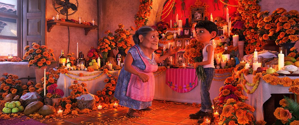 Miguel learns the importance of laying flower petals to lead his family members to his family's ofrenda.