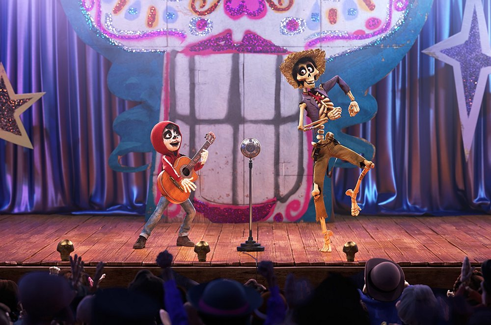 Hector and Miguel perform together in a talent show. Every song in the movie fits into its plot. At no point do the characters randomly start singing, like a typical musical.