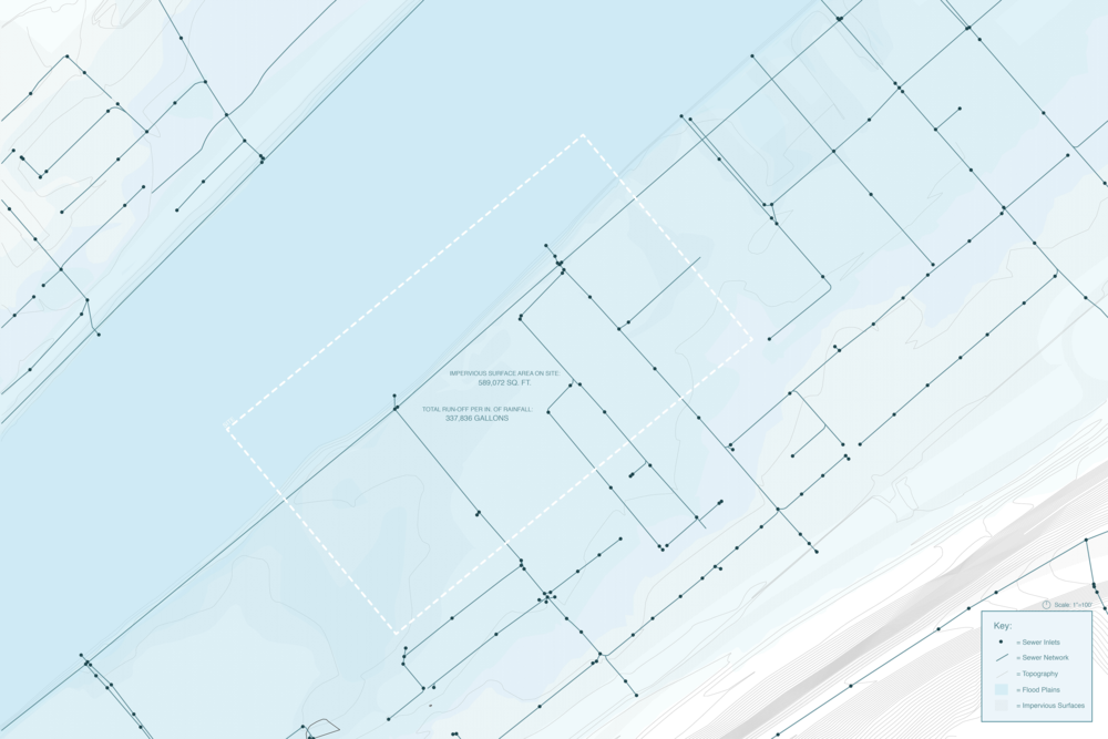 From the beginning of the project, it became clear that water greatly impacted our site. This prompted me to create this site map which analyzes the Strip District's flood planes, topography, and drainage network.