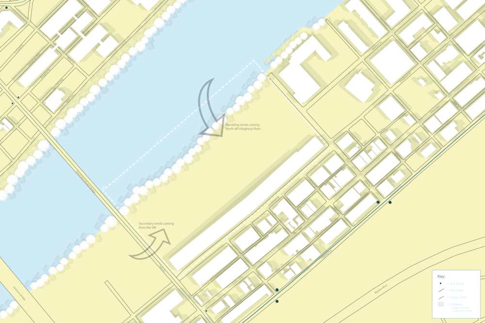This site map looks at the shadows that fall on the site, the wind patterns, and the Strip District's public transportation patterns.