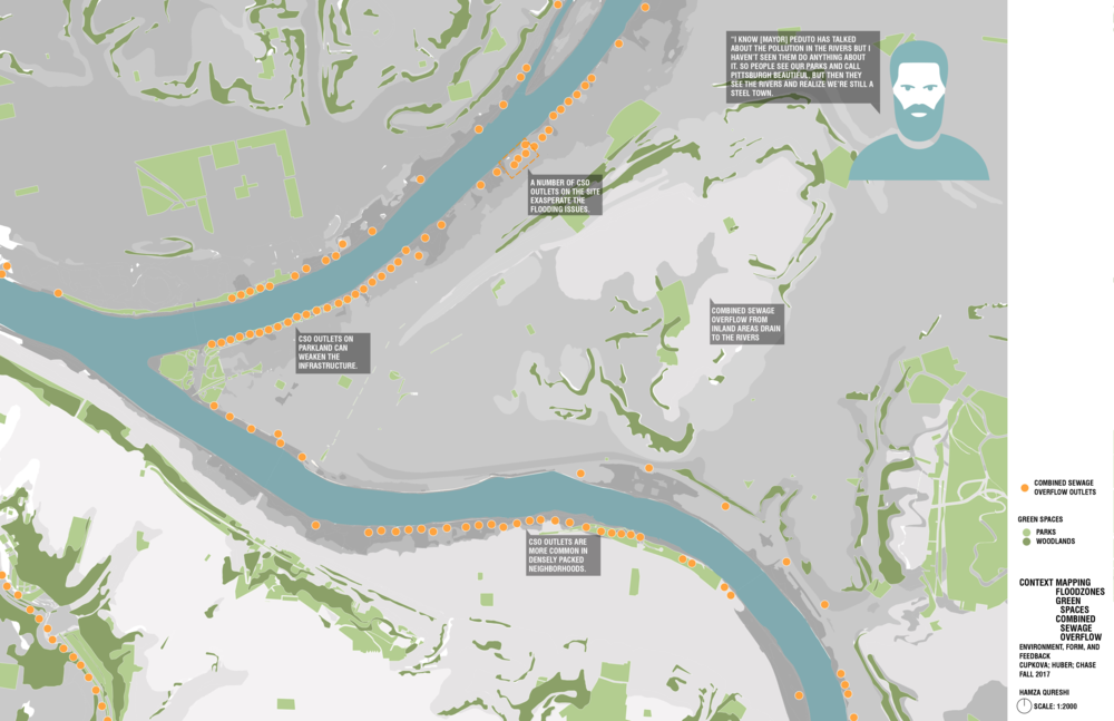 This map of Pittsburgh compares the flood planes to the  combined sewage outlets. It shows that our site sits in the prime location to help alleviate the burden that excessive rainfall puts on Pittsburgh's sewage system. This drawing was completed by my partner, Hamza.