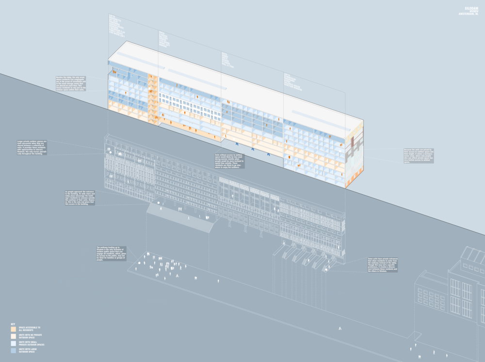 The precedent study that we were assigned was the Silodam housing project by MVRDV. This was our annotated axon drawing that showed how MVRDV arranged the different sizes and styles of housing units within the building.