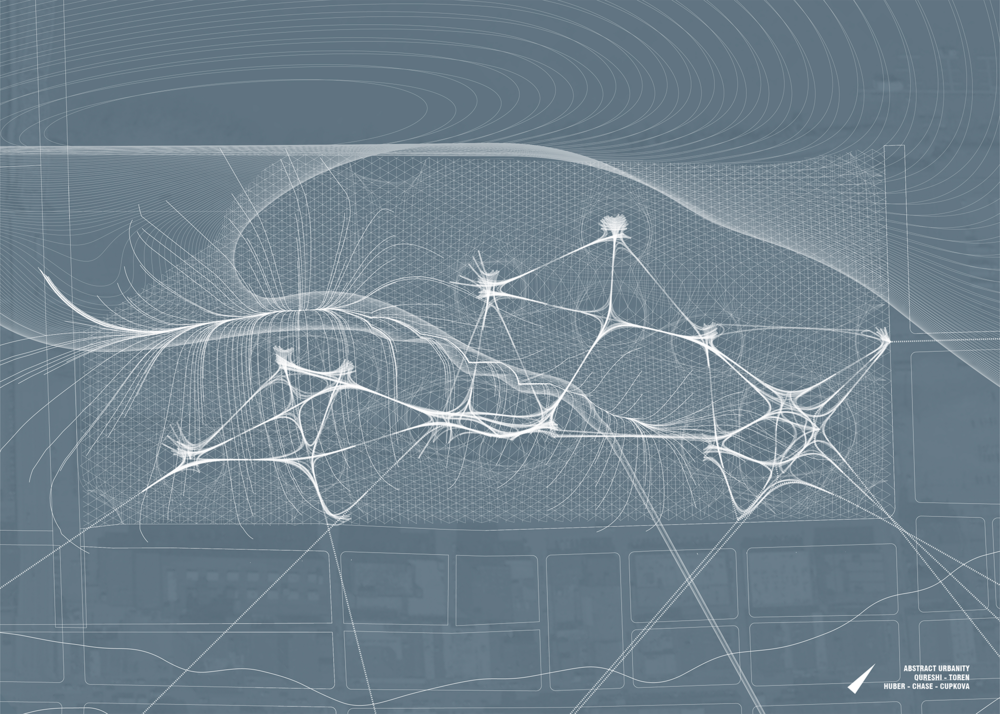 We were tasked with creating a site map that abstractly showed the network of forces that came together on our site. We used this drawing as an opportunity to bring together our analysis of the natural forces on the site and the human forces. This map includes water drainage paths and flood paths, as well as projected pedestrian circulation paths and nodes where these paths converge. This drawing then became a tool for creating our final site plan.
