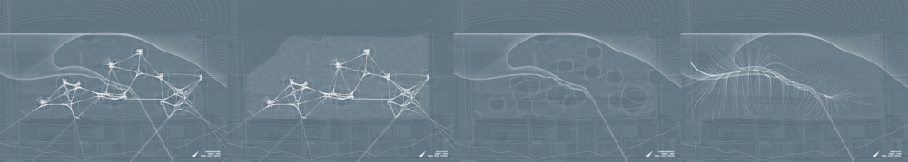 By turning individual layers of our abstract drawing on an off, we could see how certain chosen site attributes interacted. Each of these four drawings compares two layers.
