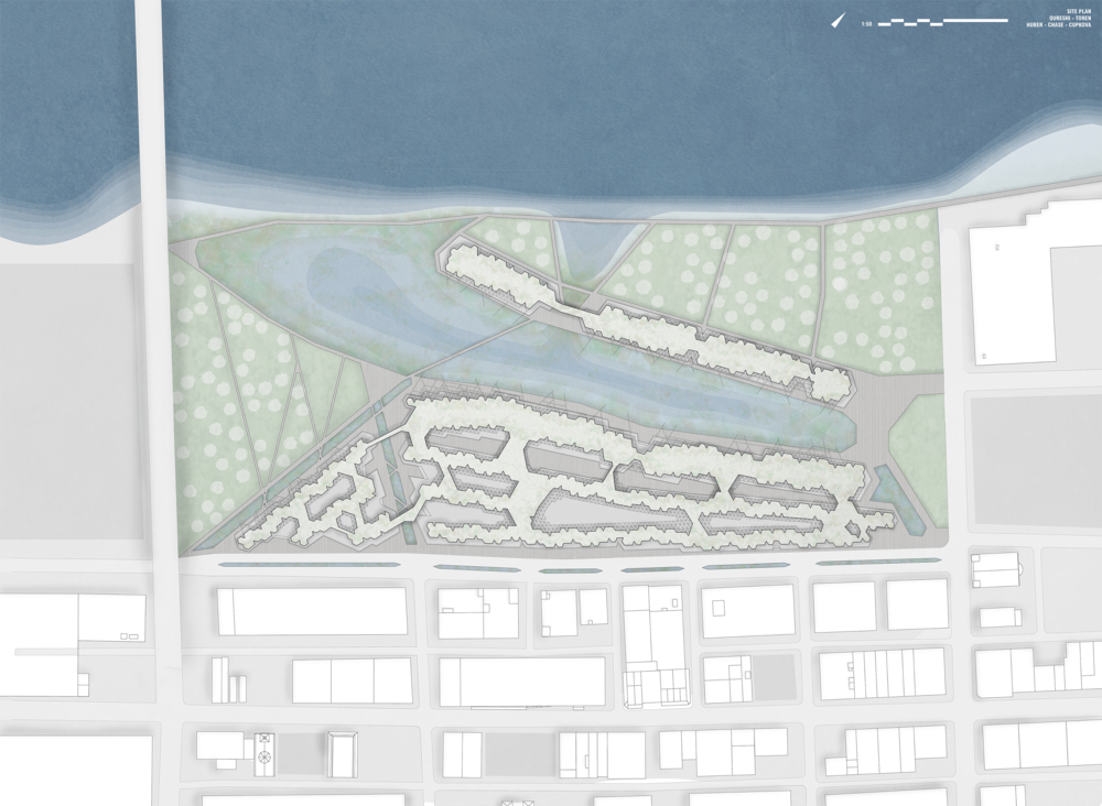 Our final site plan highlights the network of buildings and waterways that divide up the massive site.