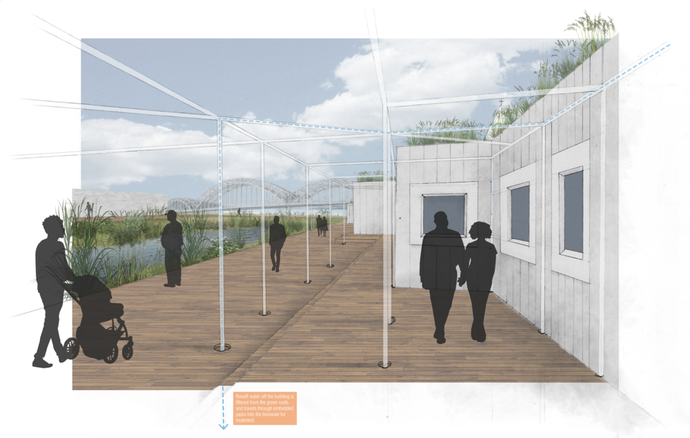 This collage style render gives a sense of the communal atmosphere that the shared circulation spaces around the bioswale start to take on.