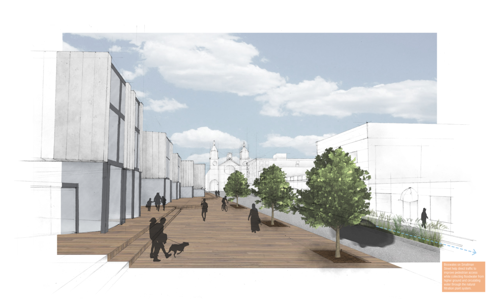 My second render shows the designs in the context of Smallman Street where the public facades of the building face.