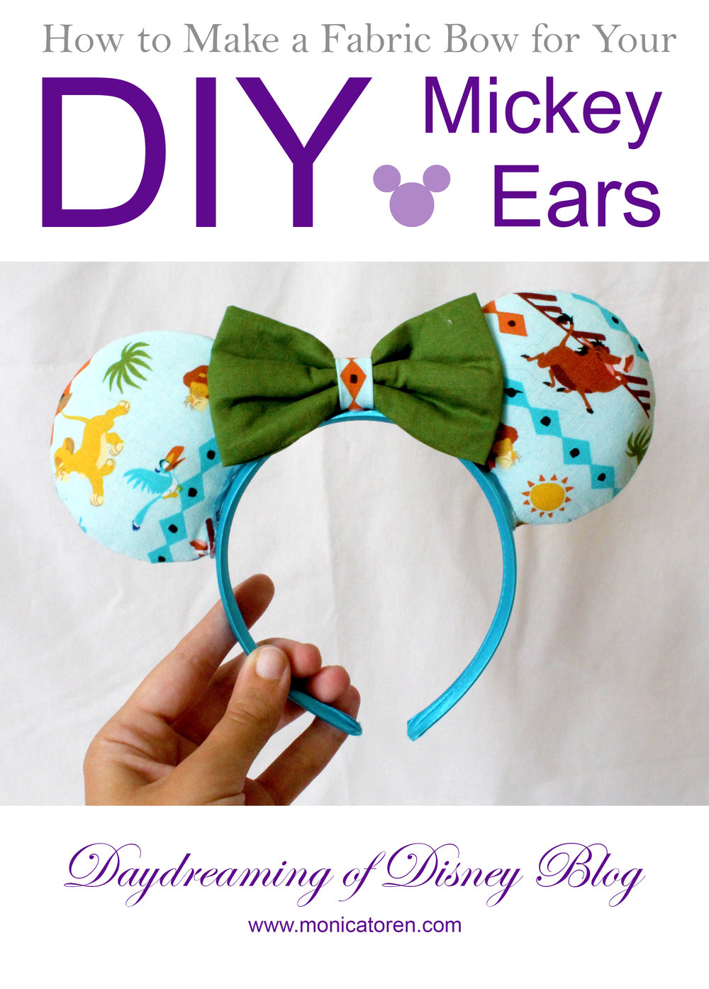 Daydreaming of Disney Blog - How to Make a Fabric Bow for Your DIY Mickey Ears - http://www.monicatoren.com #diy #mickeyears #minnieears #disney #disneyears #tutorial