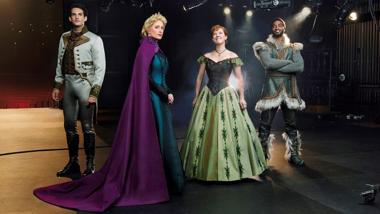 Here we see Hans (John Riddle), Elsa (Caissie Levy), Anna (Patti Murin), and Kristoff (Jelani Alladin). Don't they look amazing? It's like they stepped right out of the movie!