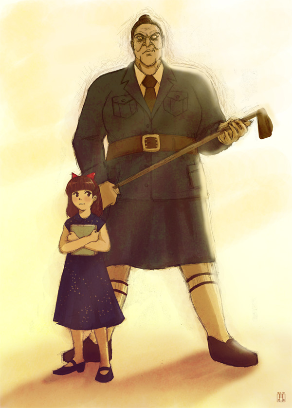 """This drawing by """"greenglassesgirl"""" on DeviantArt shows just how intimidating they could make Trunchbull, next to the adorable Matilda."""