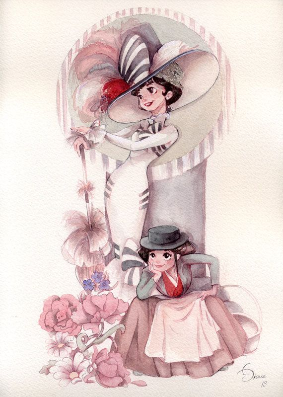 I absolutely love this watercolor by Esther Diana. I think that it captures how spunky Eliza Doolittle is!