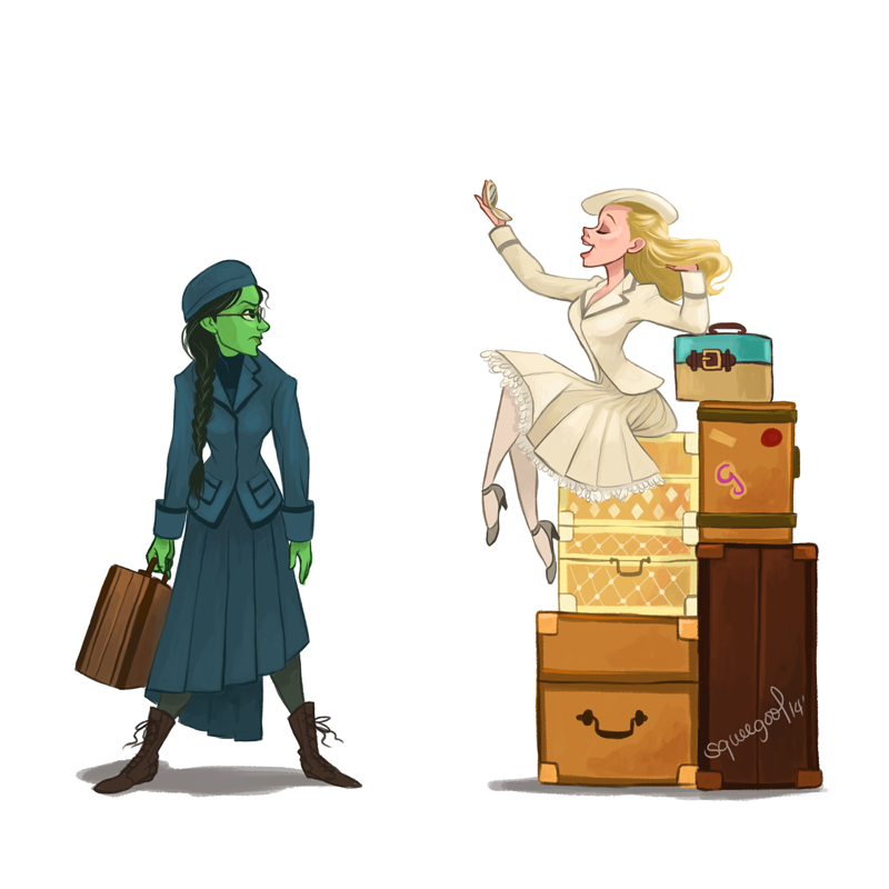 I love Glinda's entrance on her mountain of suitcases!