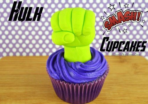 Or... if you want more of a challenge, you could sculpt some fondant Hulk hands like  A Thrifty Mom . Click the photo for the full recipe!
